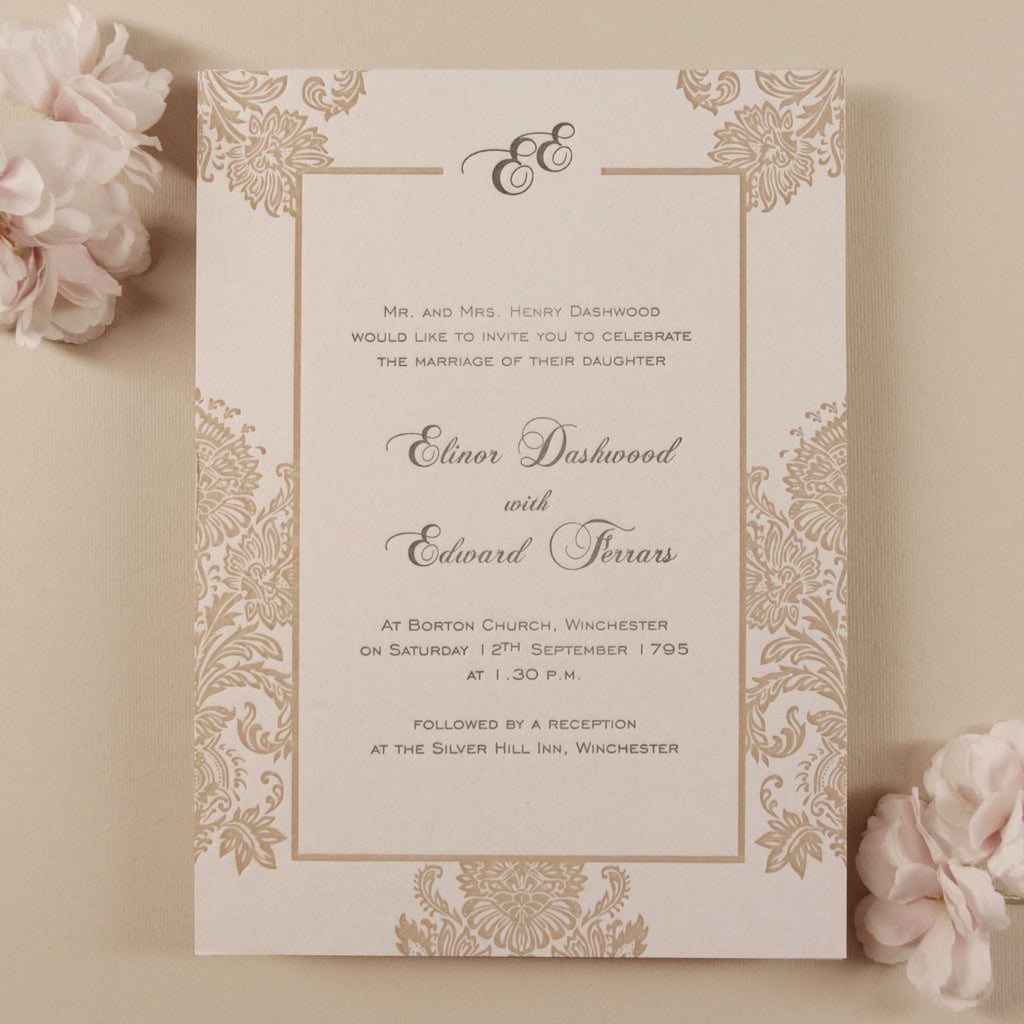Luxury 600 gsm Embossed Damasque Day Wedding Invitation