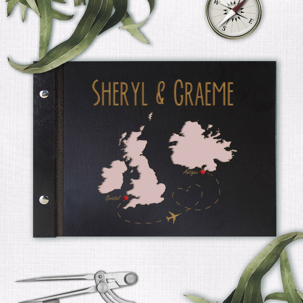 50 Sheet Large Wooden Wedding Guest Book / Photo Album with Customised Map