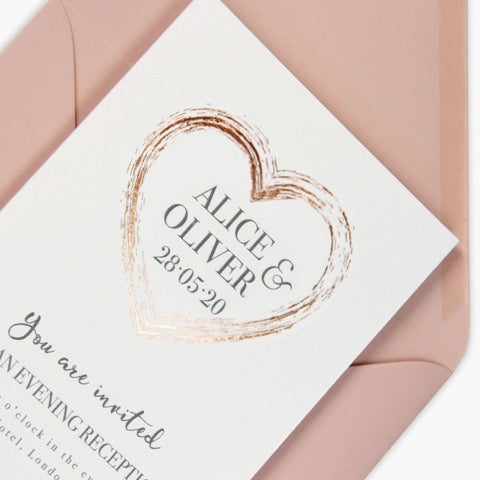 Plexi Heart matching Rose Gold Foil Evening Invitation