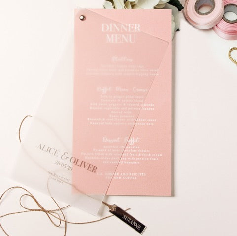 Plexi Heart matching Rose Gold Parchment Bolt 2 layer Foil Menu with place tag