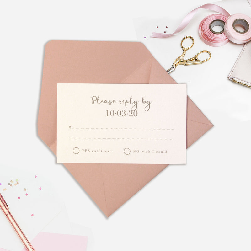 Plexi Heart Rose Gold Foil Mirror Day Invitation Pocket / Folder in Vellum Sleeve and RSVP card