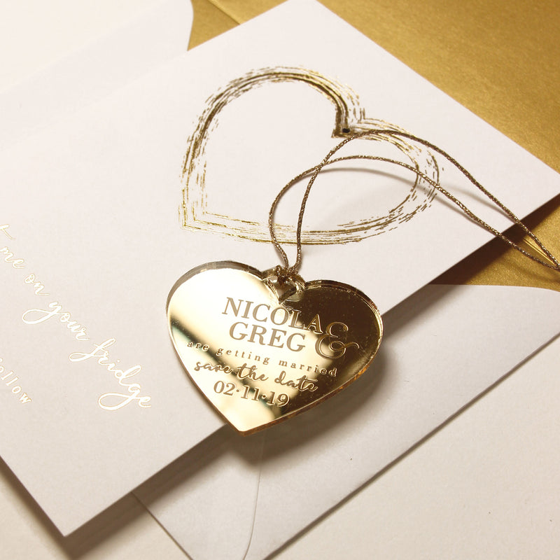 Gold Mirror Plexi Save the Date Magnet with Heart Foiled card.