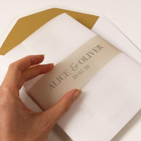 Plexi Heart Gold Foil Mirror Day Invitation Pocket / Folder with Parchment Pocket and RSVP card
