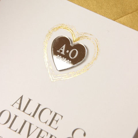 Plexi Heart Gold Foil Mirror Day Invitation Pocket / Folder in Vellum Sleeve and RSVP card