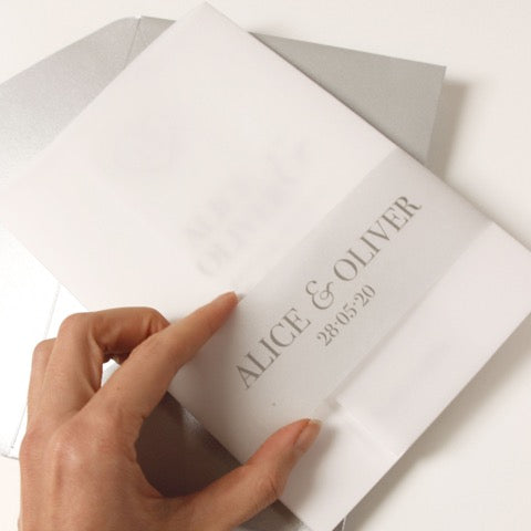 Plexi Heart Silver Foil Mirror Day Invitation Pocket / Folder with Parchment Pocket and RSVP card