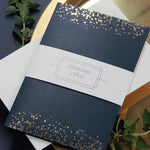Luxury Royal Gold Foil Confetti Dotted Navy Modern Pocket fold Wedding Invitation Suite