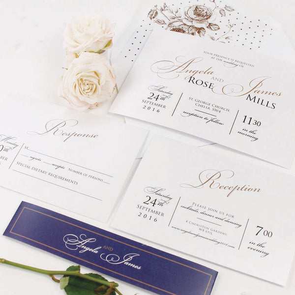 Elegant Romantic Script Wedding Invitation Set