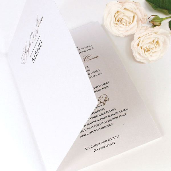 Elegant Romantic Script Order of Service / Menu