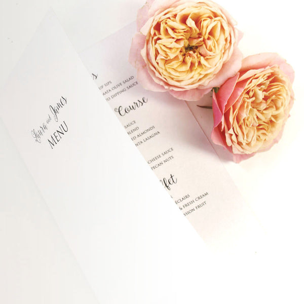 Romantic Calligraphy Order of Service / Menu