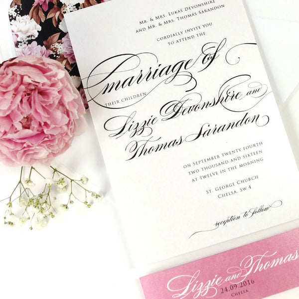 Pink Script Elegance Wedding Invitation Set