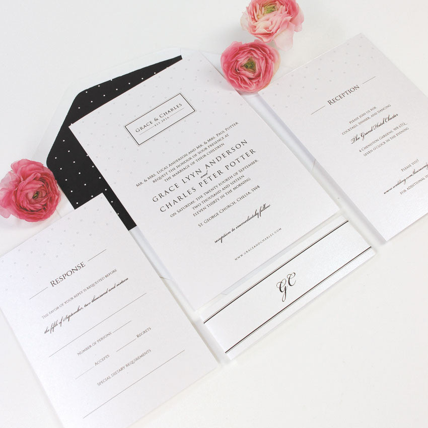 Elegant Black Wedding Invitation Set