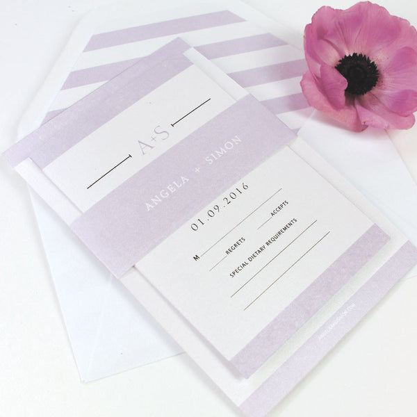 Urban Violet Glamour Wedding Invitation Set