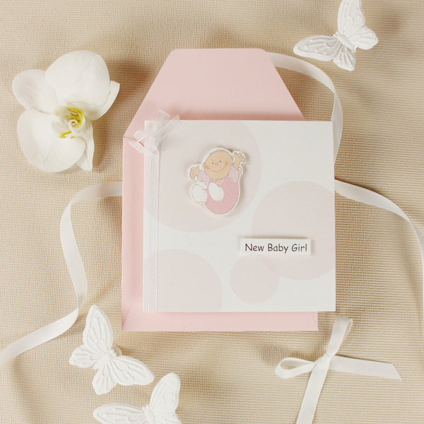 New Baby Girl Card with Shimmering Ribbon and 3D Application
