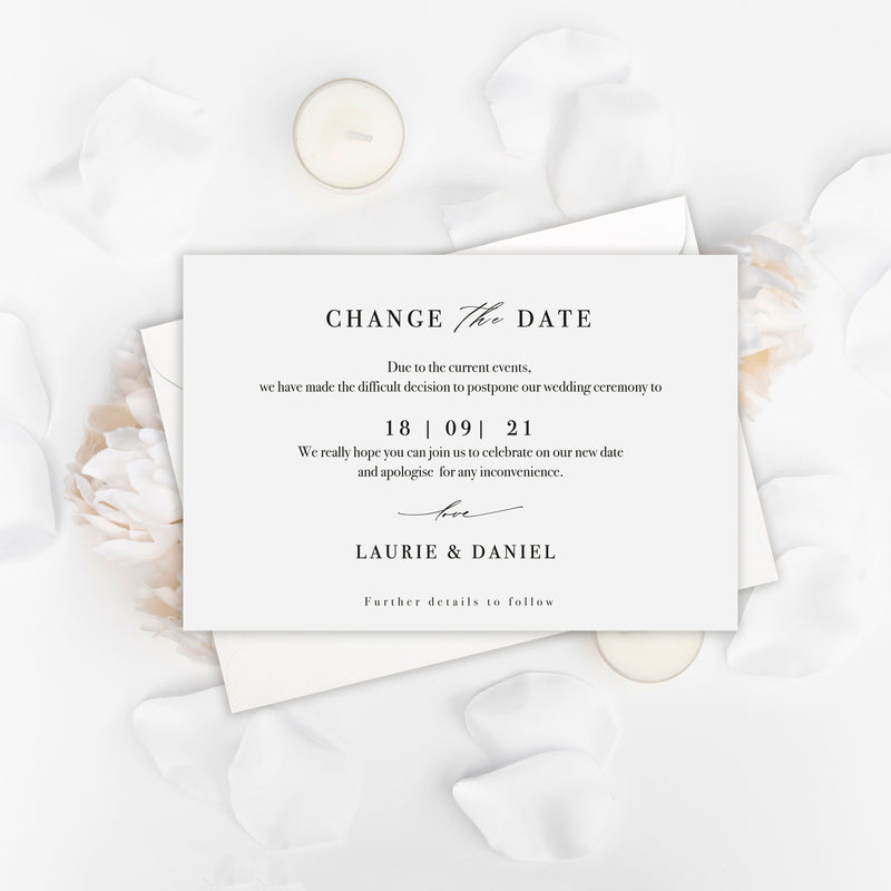 Modern Script Change the Date- Wedding Postponement Card