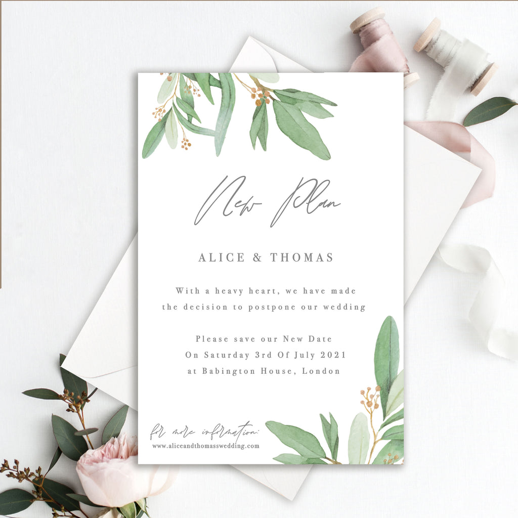 Foliage Change of Date - Wedding Postpone Card