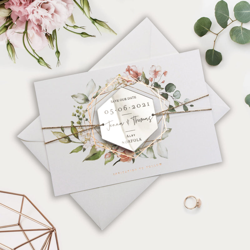 Modern Hexagon Plexi Mirror Save the Date Magnets | Wedding Invite | Gold & Silver