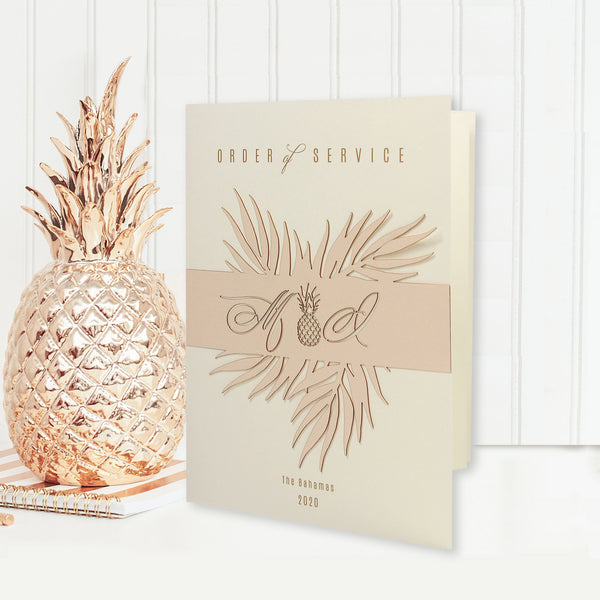 Palm Tree Order of Service,  Laser Cut Tropical Destination Invitation