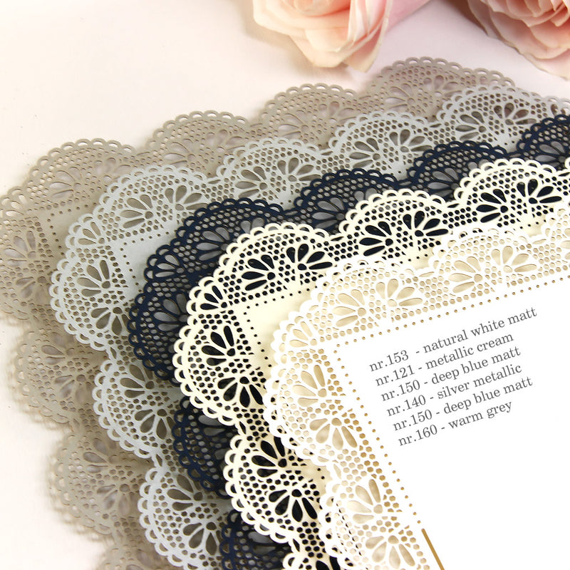 Personalised Beautiful Delicate Lace Wedding Invitation with Laser cut edge and glitter + Envelopes