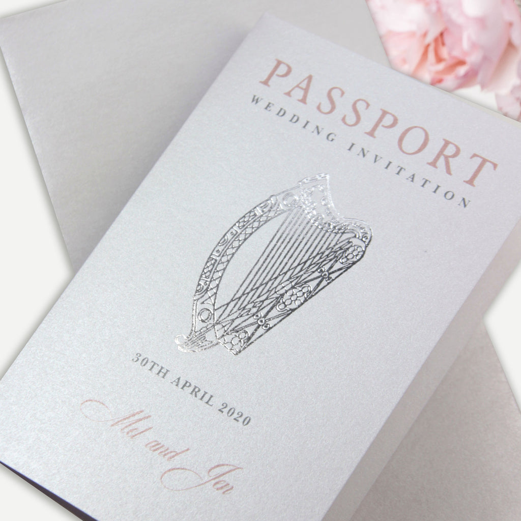 IRISH Passport Wedding Invitation with Real Gold Foil Boarding Pass Invite suite
