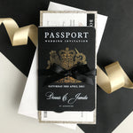Black Luxury  Passport Wedding Invitation with Bow & Gold Glitter, Real Foil