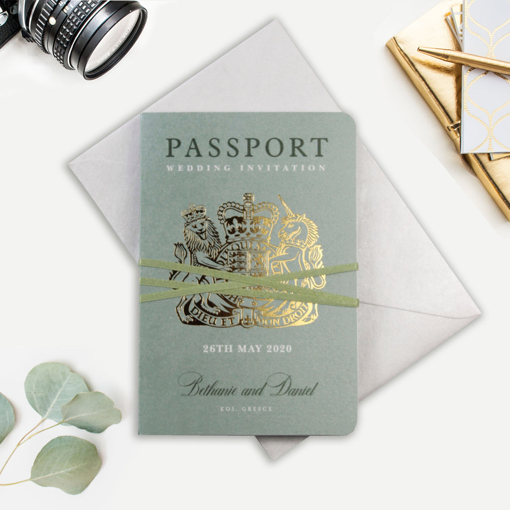 Sage Green Passport Wedding Invitation with Real Gold Foil Boarding Pass Invite suite