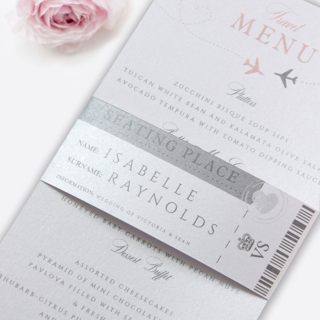 Passport Wedding Invitation Style Menu + Place Card