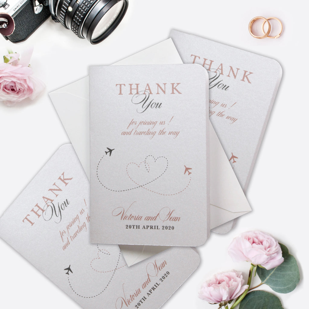 Thank you Cards with own message - matching Passport Wedding Invitation