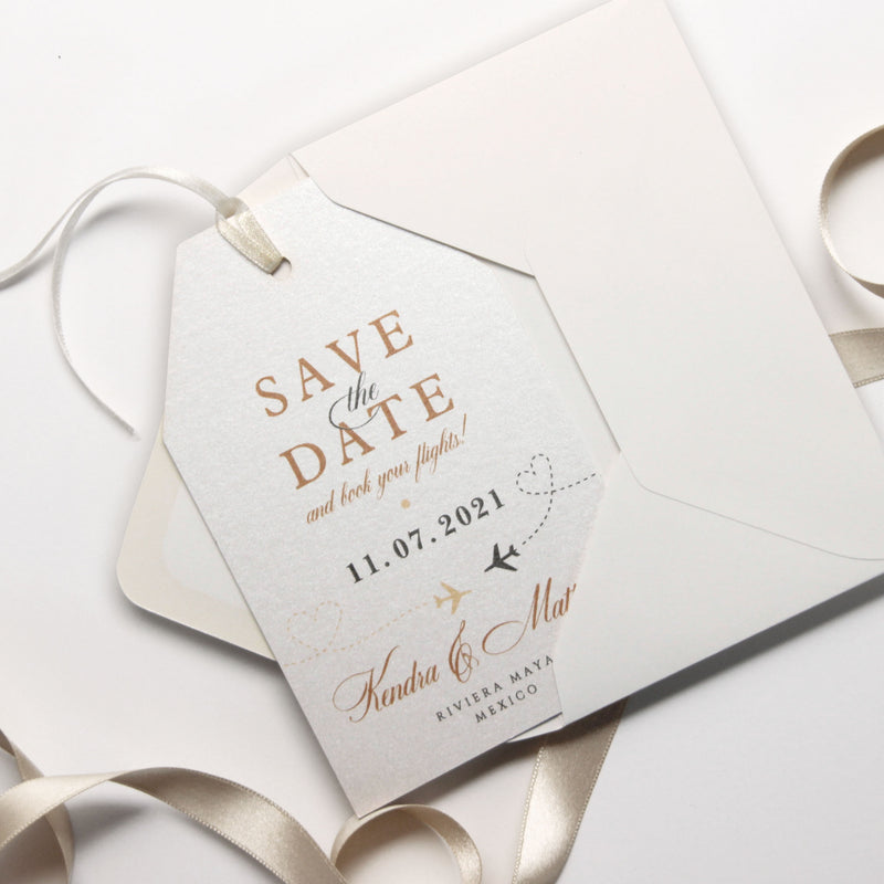 Champagne with Real Gold Foil Passport Luggage Tag Save the Date Card Travel Destination Wedding