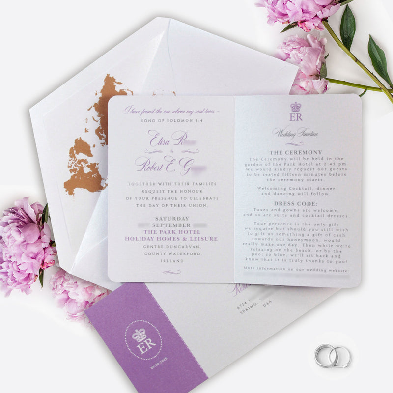Purple Compass Passport Wedding Invitation with Real Foil Boarding Pass Invite suite with World Map Liner