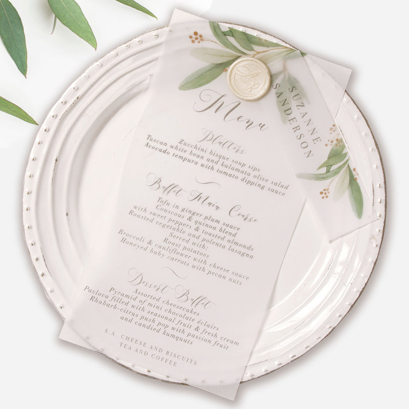 Greenery Parchment Vellum Print with Wax Seal Foliage Menu