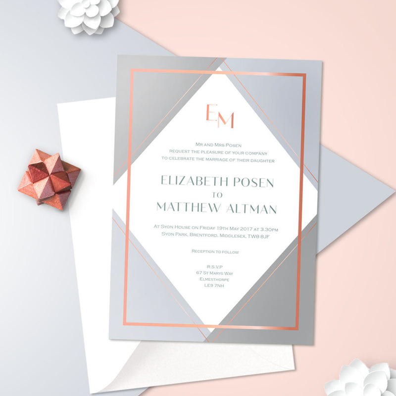 Geometric Rose Gold Foil Wedding Day Invitation