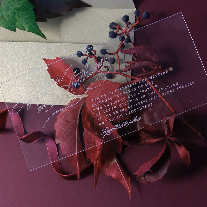 Perspex Acrylic See Through Plexi Invitation - Engraved