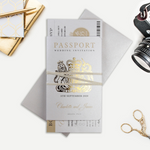 Luxury Passport Wedding Invitation in Champagne with Real Gold Foil Boarding Pass Invite suite