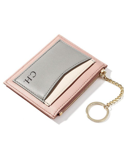 A Classic 3 color Wallet Card Holder with Monogram Engraving