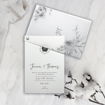 Vellum Suite Evening Reception Invitation & RSVP in Grey & Silver Boho Floral Design Silver Foil Mirror Plexi
