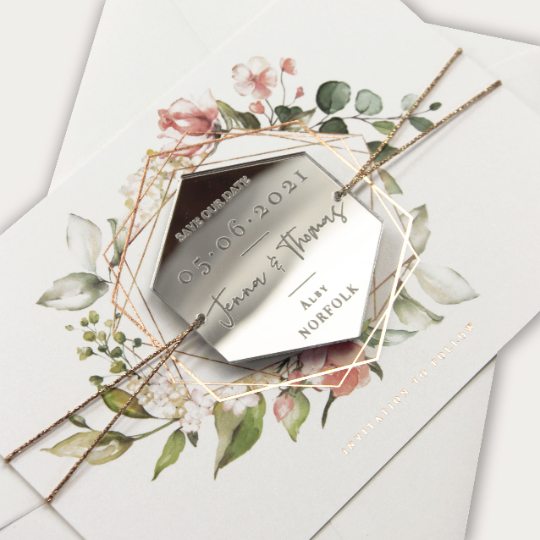 Silver Magnet Hexagon in Mirror Plexi Save the Date with Card and Silver String