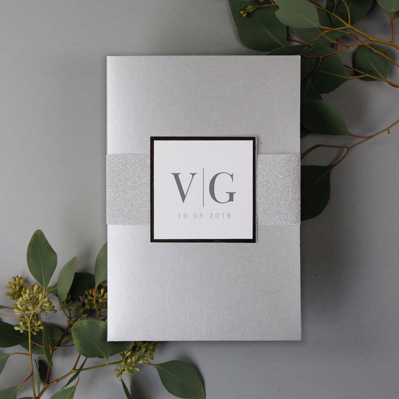Modern Typography Silver Glitter Monogram Suite Pocket Fold + Lined Glitter Envelopes