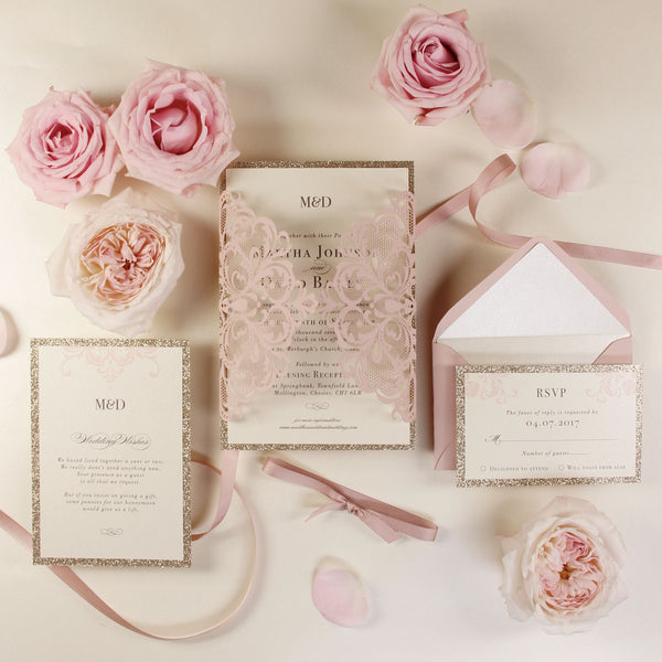 Rose Pink Opulence Luxury Gatefold Invitation with Gold Glitter and Ribbed Ribbon and Custom Envelopes
