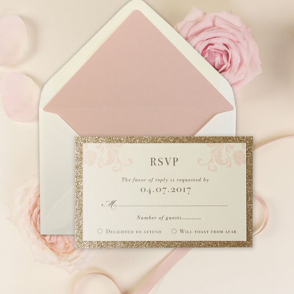 Rose Pink Opulence Luxury with Gold Glitter a RSVP/Save the Date /Thank You Card