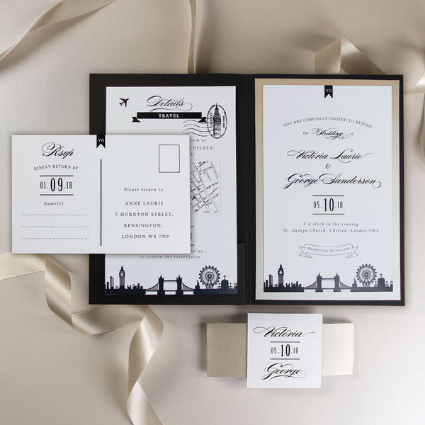 Luxury Modern Wedding Destination Travel Suite : London Pocket fold + Travel Details + Rsvp
