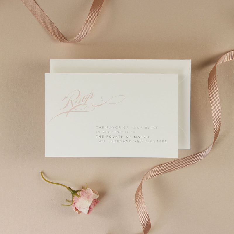 Blush and Vintage Lace Monogram Classic Pocket Monogram Wedding Invitation Suite