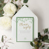 Olive Green Eco Kraft Watercolour Rustic Country Pocket Fold Wedding Invitation Suite