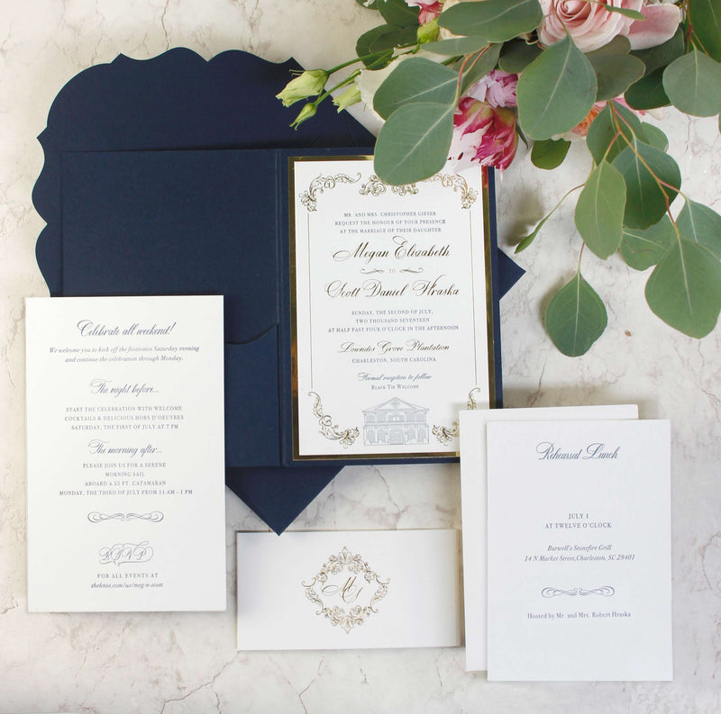 Luxury Navy and Gold Classic Pocket Suite with Gold Foil and Venue Letterpress