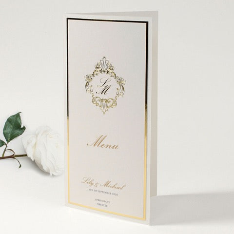 Luxury gold foil Menu