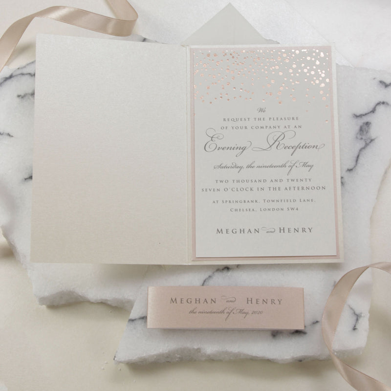 Classic Envelope Reception Fold Folder with Confetti Pocket Suite in Dusty Pink and Champagne