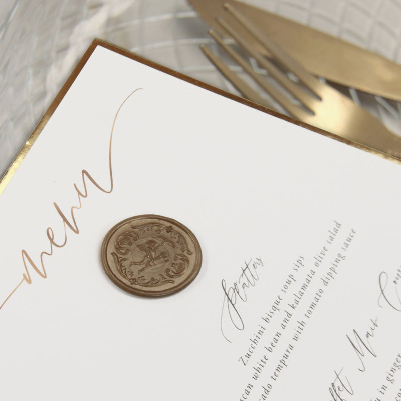 Bespoke Wax Seal Menu Cupid Amore with Gold Foil Trim