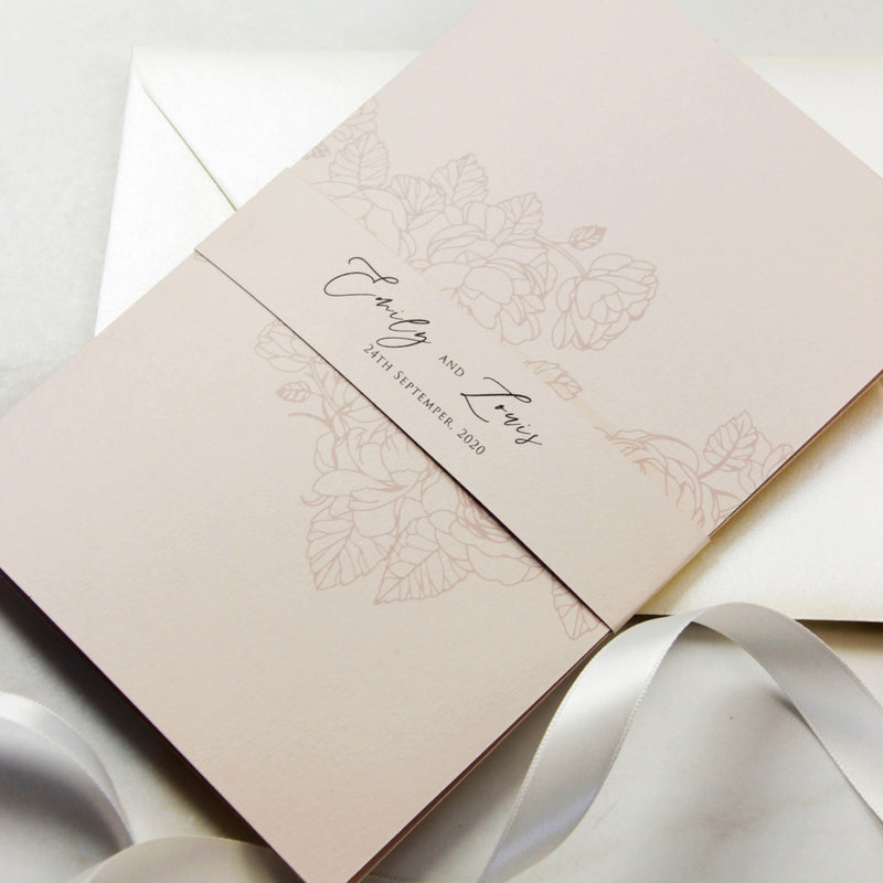 Classic yet Modern Calligraphy Pocket suite with Rsvp + Envelope