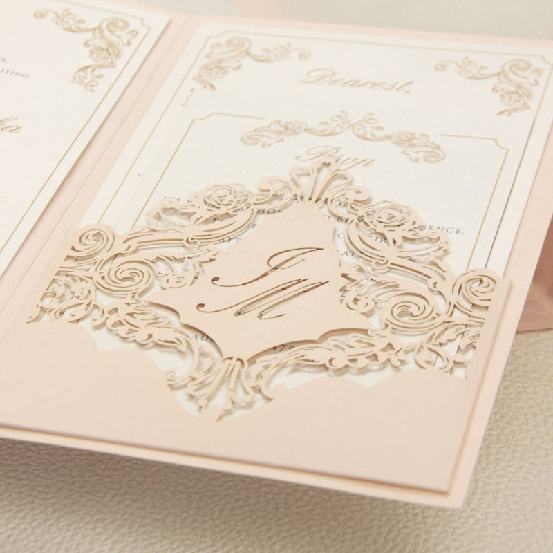 SAMPLE | Luxury Blush and Cream Classic Pocket Suite with Gold Foil and Wedding Venue Sketch