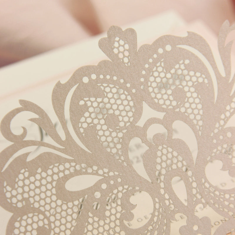 Luxury Blush Opulence Laser Cut Square Lace Save the Date with Envelope