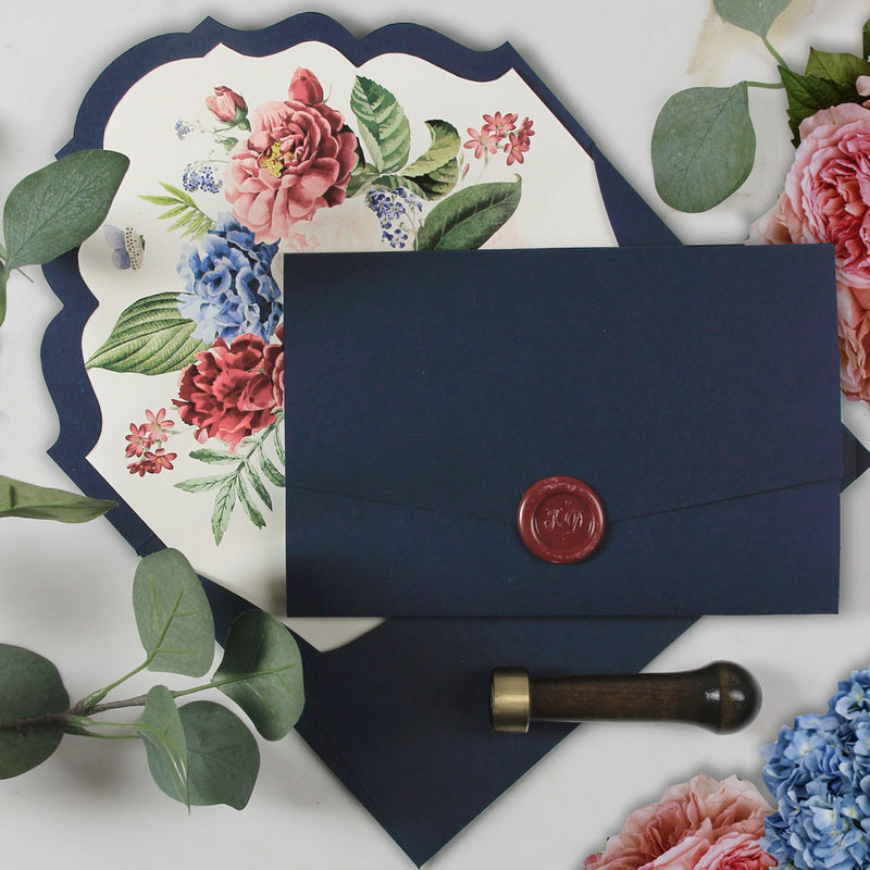 Flower Burst Classic Invitation with Envelope Fold Pocket Suite in Navy Blue with Gold Foil